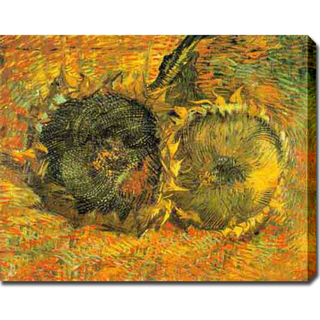 Two Cut Sunflowers-Vincent Van Gogh oil on canvas
